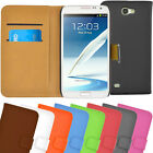 New Samsung Galaxy Note 2 II N7100 Wallet Flip Leather Case / Cover in 8 Colours
