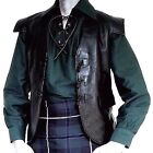BLACK 100% LEATHER SCOTTISH JACOBITE KILT 3 TOGGLE WAISTCOAT ALL SIZE FOR KILTS