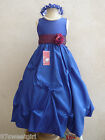 ROYAL BLUE PURPLE PLUM WEDDING FLOWER GIRL DRESS 2T 2 3 4 5 6X 6 7 8 9 10 12 14