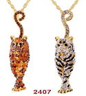 1p Tiger 80*20MM Czech Rhinestone Crystal Long Chain Golden Pendant Necklaces