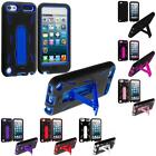 Color Black Hybrid Heavy Duty Case Cover with Stand for iPod Touch 5th Gen 5G 5