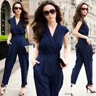 Womens Casual Vneck Overall Rompers Jumpsuit high Waist Wide-leg Pants Trousers