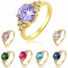 New Design Women Cubic Zirconia Pear Cut 18K Gold Plated Band Ring Size 6 7 8