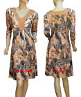 Snake Animal Print Cocktail Party Evening Day Dress Black Beige 3/4 Sleeve New