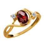 0.86 Ct Checkerboard Red Garnet and Diamond Gold Plated Silver Ring