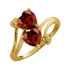 1.81 Ct Heart Shape Red Garnet Gold Plated Sterling Silver Ring