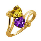 1.48 Ct Heart Shape Citrine and Amethyst Gold Plated Silver Ring