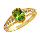1.02 Ct Oval Emerald Envy Topaz Sapphire Gold Plated Sterling Silver Ring