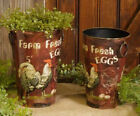 """RUSTIC TIN CONTAINER PLANTERS FARM FRESH EGGS ROOSTER LG 9 1/2"""" H  SM 8 5/8"""""""