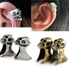 Punk Gothic Rock  Vintage Bronze Silver Skull Head Ear Cuff Wrap Clip Earring
