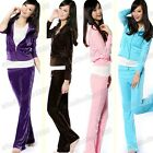 Stylish Sexy Casual Women's Colorful Slim Velour Suit Tracksuit M,L,XL
