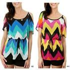 **NEW** Green Navy Chevron ZigZag Scoop Off Shoulder Spaghetti Strap Top Shirt