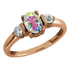 1.23 Ct Oval Mercury Mist Mystic Topaz and Topaz Gold Plated Silver Ring