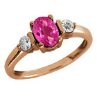 1.23 Ct Oval Pink Mystic Topaz and Topaz Gold Plated Sterling Silver Ring