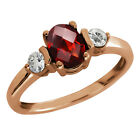1.08 Ct Checkerboard Red Garnet and Topaz Gold Plated Sterling Silver Ring