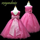 USMD59A Hot Pink *Floor-Length* Pageant Wedding Flower Girls Dress 1 to 13 Years