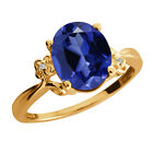 3.38 Ct Blue Created Sapphire Sapphire Yellow Gold Plated Sterling Silver Ring