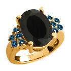 4.62 Ct Oval Black Onyx Blue Diamond Yellow Gold Plated Sterling Silver Ring