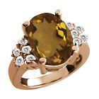 4.52 Ct Oval Whiskey Quartz White Sapphire Rose Gold Plated Sterling Silver Ring