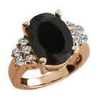 4.62 Ct Oval Black Onyx White Diamond Rose Gold Plated Sterling Silver Ring