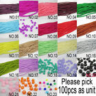 NEW 100pcs 4mm size Ball Glass crystal Beads Fit Bracelets Necklaces many colors