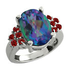 4.55 Ct Oval Millenium Blue Mystic Quartz Red Garnet Sterling Silver Ring