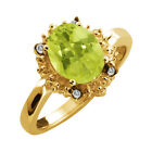 1.67 Ct Oval Yellow Lemon Quartz and Topaz Yellow Gold Plated Silver Ring