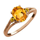 1.19 Ct Oval Citrine Gemstone Gold Plated Sterling Silver Ring