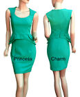 Green Office Career Pencil Dress Formal Vintage Inspired Peplum Style New