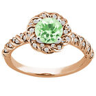 1.50 Ct Round Green Amethyst White Diamond 925 Rose Gold Plated Silver Ring