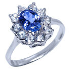1.40 Ct Oval Tanzanite White Topaz 14K White Gold Ring