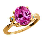 3.26 Ct Oval Pink Created Sapphire Topaz Gold Plated 925 Silver Ring