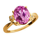 2.93 Ct Light Pink Created Sapphire Diamond Gold Plated 925 Silver Ring