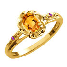 0.41 Ct Oval Citrine Purple Amethyst Gold Plated Sterling Silver Ring