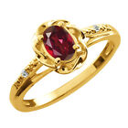 0.51 Ct Oval Ruby Red Mystic Topaz Topaz Gold Plated Sterling Silver Ring