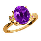 2.52 Ct Oval Amethyst Sapphire Gold Plated 925 Silver Ring