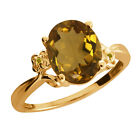 2.32 Ct Oval Whiskey Quartz Citrine Yellow Gold Plated Sterling Silver Ring
