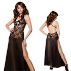 130CM Long Black Lace Lingerie Babydoll Night Gown Plus  6 8 10 12 14 16 18 20