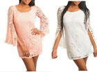 Womens Juniors Off White Peach Lace Bell Sleeve Short Mini Dress