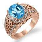 3.33 Ct Oval Swiss Blue Topaz White Diamond Rose Gold Plated Silver Ring