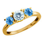 1.10 Ct Round Sky Blue Aquamarine and Topaz Gold Plated Silver Ring