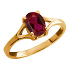 0.94 Ct Oval Red Created Ruby Yellow Gold Plated Sterling Silver Ring