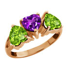 2.40 Ct Heart Shape Natural Purple Amethyst and Peridot Gold Plated Silver Ring