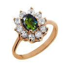 1.35 Ct Oval Tourmaline Green Mystic Topaz Topaz Gold Plated Silver Ring
