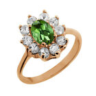 1.25 Ct Oval Green Tourmaline White Topaz Rose Gold Plated Sterling Silver Ring