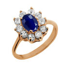1.42 Ct Oval Blue Sapphire White Topaz Rose Gold Plated Sterling Silver Ring