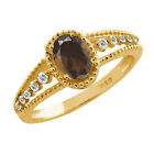 0.87 Ct Oval Brown Smoky Quartz Sapphire Gold Plated Sterling Silver Ring