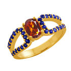 1.34 Ct Oval Orange Red Madeira Citrine Blue Sapphire Gold Plated Silver  Ring