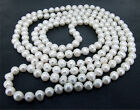"Luster Baroque 7mm White Cultured Pearl Necklace Knotted Necklace18"" 32"" 48"" 62"""