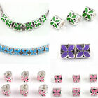 Wholesale 30Pcs Bulk Triangle Colorful Enamel Clover Charms Beads Fit Bracelets